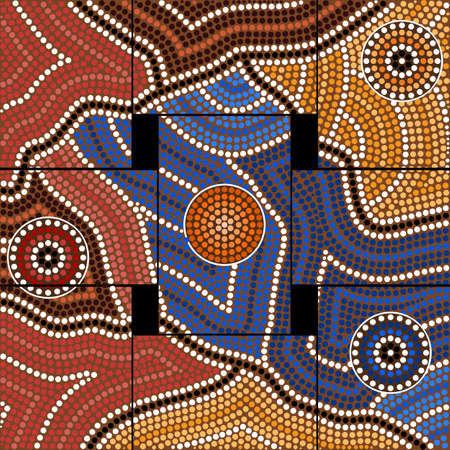 outback australia: A illustration based on aboriginal style of dot painting depicting civilization