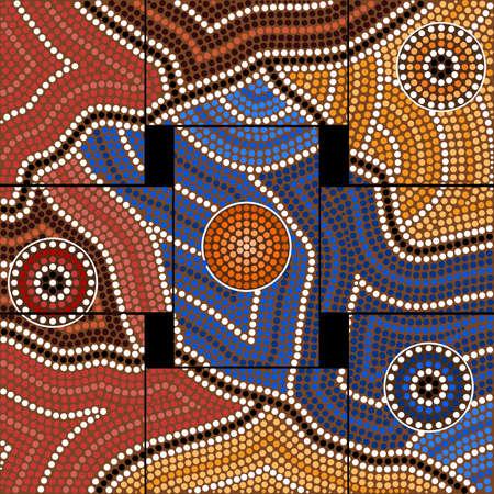 aborigen: Una ilustración basada en el estilo aborigen de la pintura punto que representa la civilización Foto de archivo