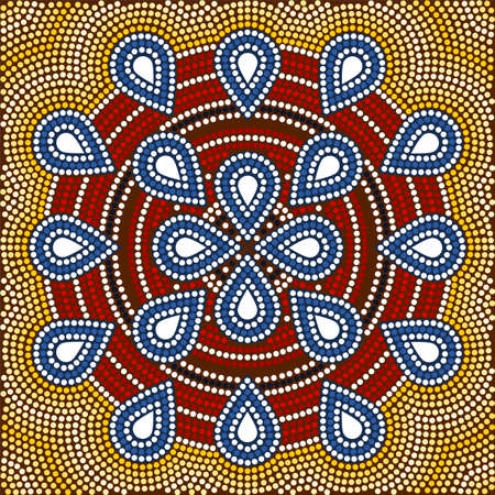 A illustration based on aboriginal style of dot painting depicting flower illustration