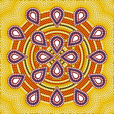 australian outback: A illustration based on aboriginal style of dot painting depicting flower  Stock Photo