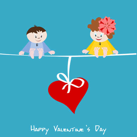 Cute little girl and boy with big red heart - Valentine illustration illustration