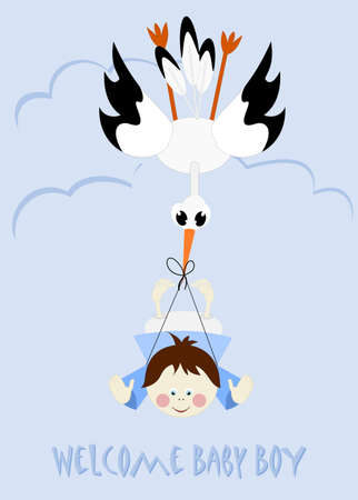 Baby Boy and stork - welcome baby boy Stock Vector - 18846726