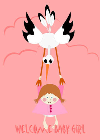 baby girl cartoon: Baby Girl and stork - welcome baby girl