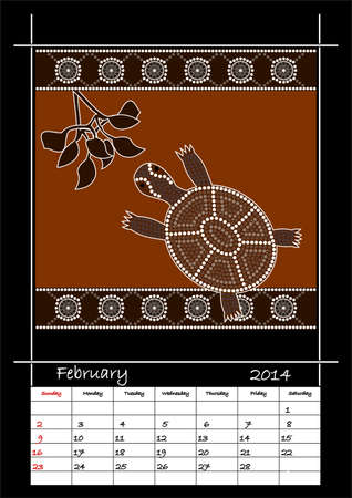 A calender based on aboriginal style of dot painting depicting turtle - australian public holidays - february 2014 Stock Vector - 18176841
