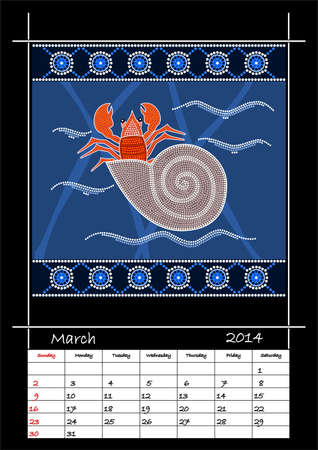 A calender based on aboriginal style of dot painting depicting hermit crab - australian public holidays - march 2014 Stock Vector - 18176839