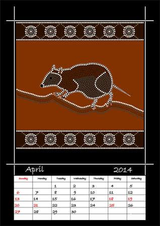 rivulet: A calender based on aboriginal style of dot painting depicting musky rat kangaroo  - australian public holidays - april 2014 Illustration