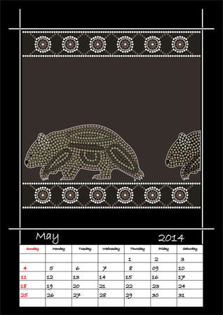 A calender based on aboriginal style of dot painting depicting wombat - australian public holidays - may 2014 Illustration