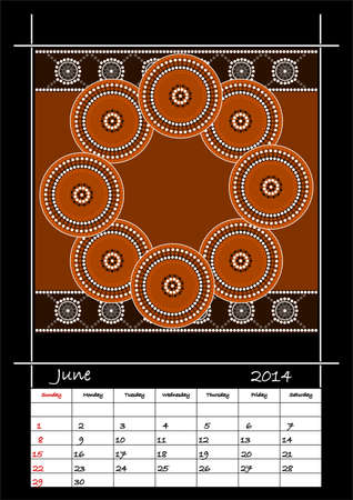 A calender based on aboriginal style of dot painting depicting circle  - australian public holidays - june 2014 Stock Vector - 18176838