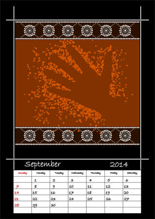 A calender based on aboriginal style of dot painting depicting hand - australian public holidays - september 2014 Stock Vector - 18176836