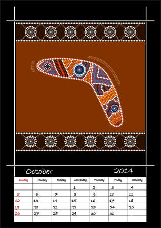 A calender based on aboriginal style of dot painting depicting boomerang  - australian public holidays - October 2014 Stock Vector - 18176832