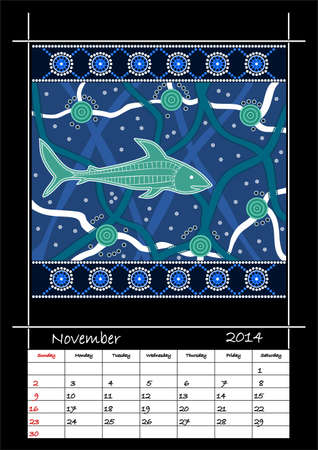 A calender based on aboriginal style of dot painting depicting shark - australian public holidays - November 2014 Stock Vector - 18176835