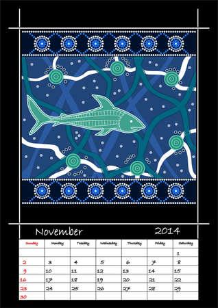 A calender based on aboriginal style of dot painting depicting shark - australian public holidays - November 2014 Stock Vector - 18176835
