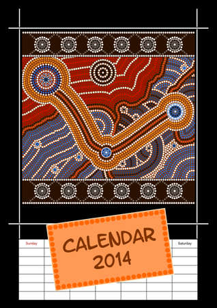 A calender based on aboriginal style of dot painting depicting cover - australian public holidays - year 2014 Stock Vector - 18176837