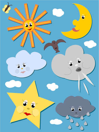 zon en maan: Gelukkig hemel - zon, maan, sterren, wolken, vlinder en vogel op de hemel
