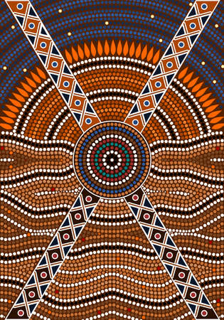 outback australia: A illustration based on aboriginal style of dot painting depicting secret