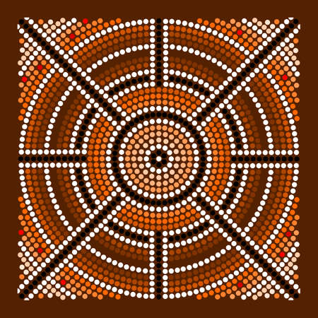 A illustration based on aboriginal style of dot painting depicting center Vector