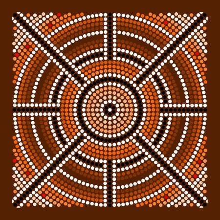 aborigen: Una ilustración basada en el estilo aborigen de la pintura punto que representa el centro Vectores