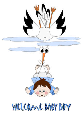 Baby Boy and stork - welcome baby boy Stock Vector - 18909545
