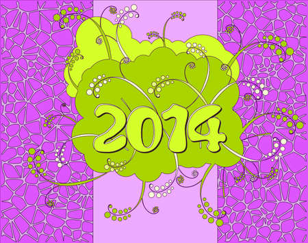 2014 - Happy New Year card in neon style  Illustration