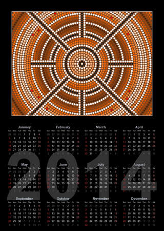 A calender based on aboriginal style of dot painting depicting year 2014  Illustration