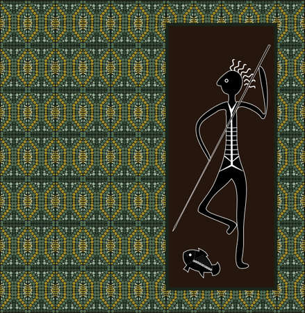 rivulet: A illustration based on aboriginal style of dot painting depicting hunter