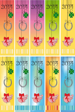 four leaved: Happy New Year 2014 -  Illustration