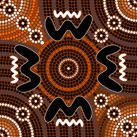 outback australia: A illustration based on aboriginal style of dot painting depicting difference Illustration