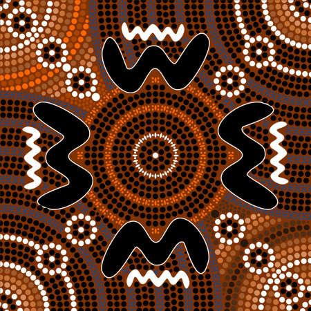 aboriginal: Una ilustraci�n basada en el estilo aborigen de la pintura de puntos que representa diferencia