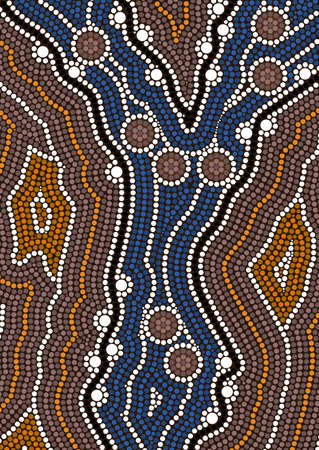 A illustration based on aboriginal style of dot painting depicting ford Ilustração