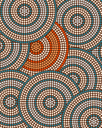 A illustration based on aboriginal style of dot painting depicting circle background Ilustração