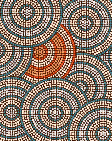 aborigen: Una ilustración basada en el estilo aborigen de la pintura de puntos que representa el fondo del círculo