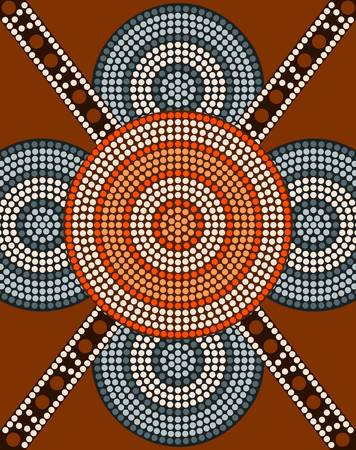 A illustration based on aboriginal style of dot painting depicting circle background 2 Vector