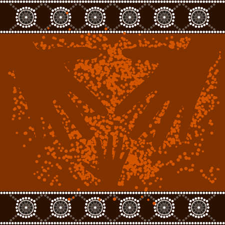 A illustration based on aboriginal style of dot painting depicting 3 hands