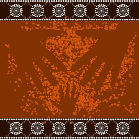 aborigen: Una ilustración basada en el estilo aborigen de la pintura de puntos que representa 3 manos