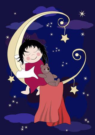 sleeps: Little baby and teddy sleeps on the moon