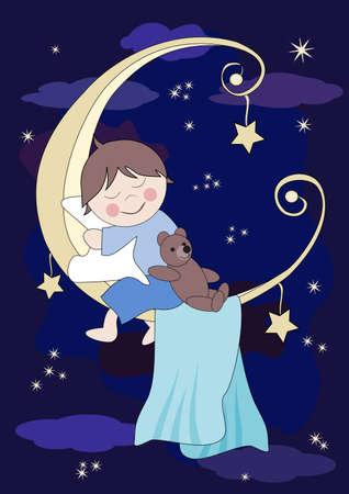 Little baby and teddy sleeps on the moon