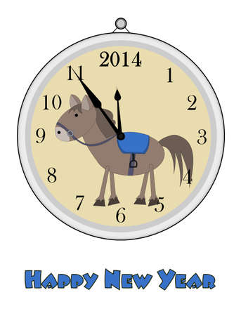 12 oclock - Happy New Year - 2014 Vector