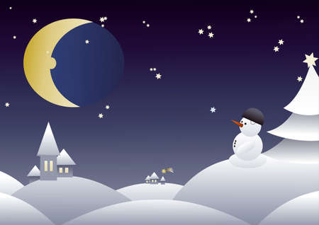Winter night with snowman and moon in hills