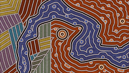 A illustration based on aboriginal style of dot painting depicting different cultures