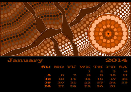 rivulet: A calender based on aboriginal style of dot painting - January