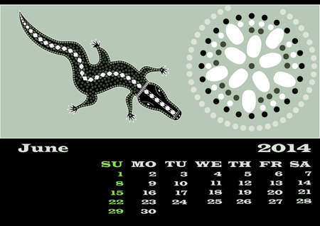 rivulet: A calender based on aboriginal style of dot painting - June