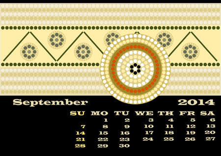 rivulet: A calender based on aboriginal style of dot painting - September Stock Photo