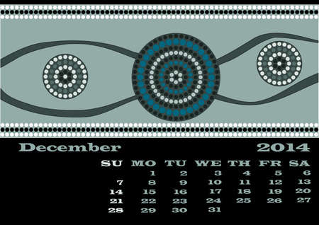 rivulet: A calender based on aboriginal style of dot painting - December