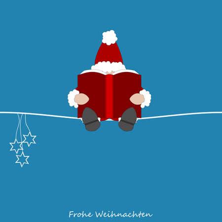 Papá Noel que lee su libro grande sus notas sobre todos los niños de todo el mundo - texto alemán Foto de archivo - 23668254
