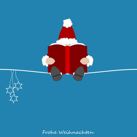 Santa Claus reads from his big book his notes on all the children from around the world - german text
