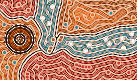A illustration based on aboriginal style of dot painting depicting landscape after settlement Stock Photo