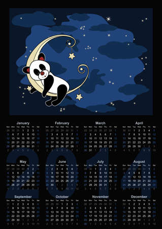 Calendar 2014 - Little panda sleeps on the moon Stock Photo