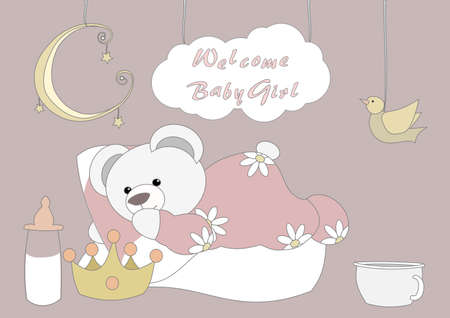Welcome Baby Girl - Little Teddy  Vector