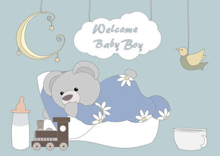 Welcome Baby Bay - Little Teddy Vector
