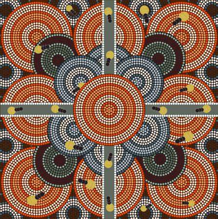 A illustration based on aboriginal style of dot painting depicting honey ants